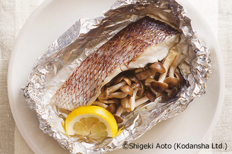 Steamed Sea Bream and Shimeji Mushrooms