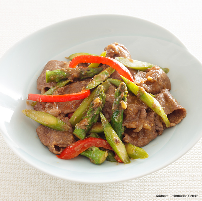 Fried beef and asparagus with miso sauce