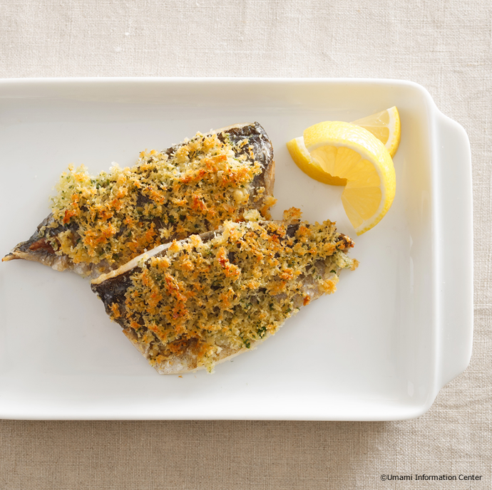 Grilled Horse Mackerel with Cheese Bread Crumbs