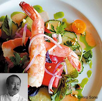 """TERRA""""AME""Chef Hiro Sone's Ginger Shrimp and Watermelon Salad with Lemongrass Vinaigrette"