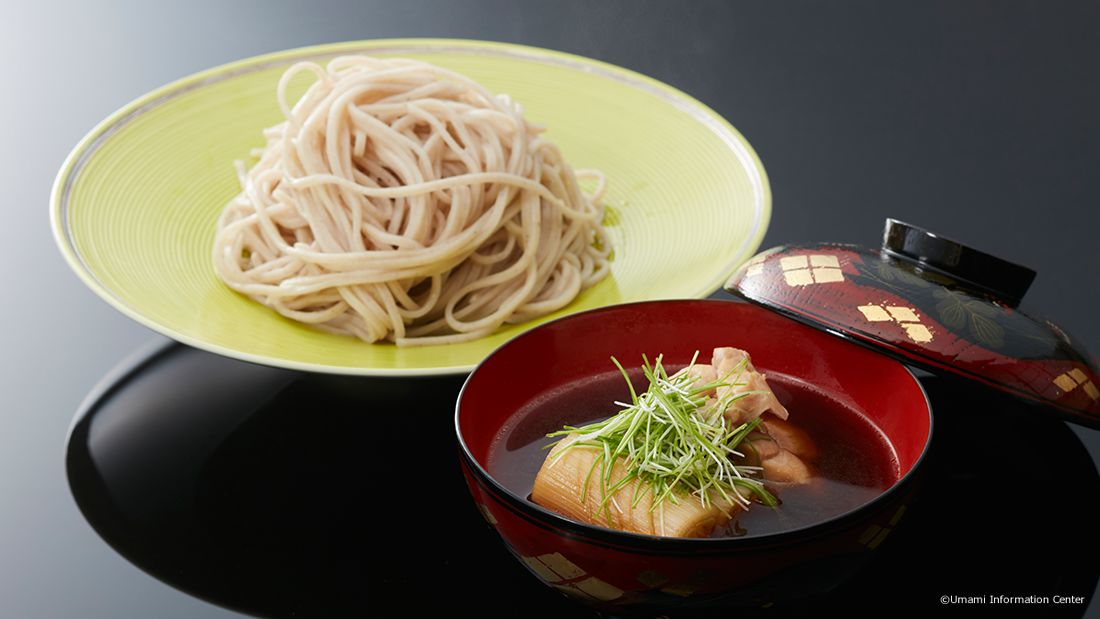 SOBA, BUCKWHEAT NOODLES SERVED WITH SCALLION NANBAN SAUCE