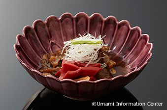 2. Takeshi KAWANISHI, Chief Exective Officer & Chef of Hisago Zushi : STEWED BEEF SINEW AND RED KONJAK WITH SAKE