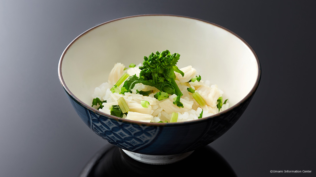 UMAMI-RICH RICE WITH SCALLOP AND CHOPPED GREEN VEGETABLES