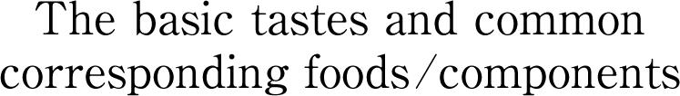 基本味の代表的な食材・味物質