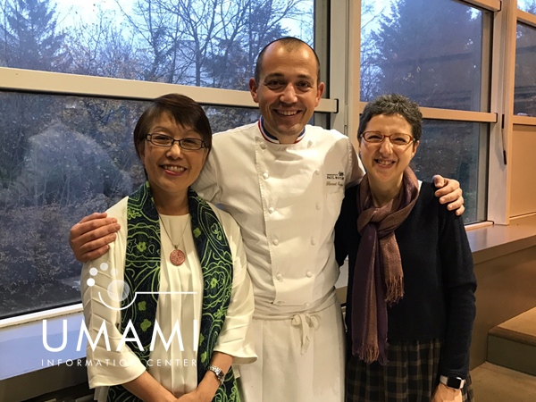 Chef Florent Boivin with Kumiko Ninomiya and Ana San Gabriel at the end of the workshop