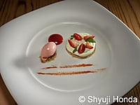 Umami Tart- strawberry, tomato and torn basil served with strawberry-tomato sorbet