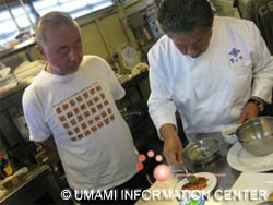 Mr. Murata preparing a dish using macambo