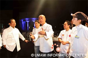 Chef NOBU Matsuhisa, (third from left) and Chef Murata (left) in preparation