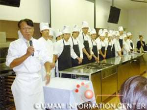 Mr. Shigeru Kagitomi, head teacher of Niigata Cooking Technical School and assistants