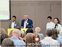 Presentation by chef Shimomura and Dr. Kawasaki (From left to right, Dr. Kawasaki, Dr. Mouritsen, Chef Shimomura and Dr. San Gabriel)